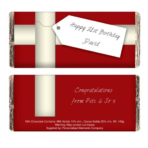 Personalised Ribbon Tag Chocolate Bar